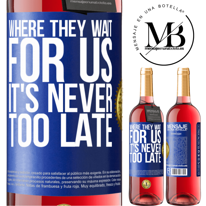 24,95 € Free Shipping   Rosé Wine ROSÉ Edition Where they wait for us, it's never too late Blue Label. Customizable label Young wine Harvest 2020 Tempranillo