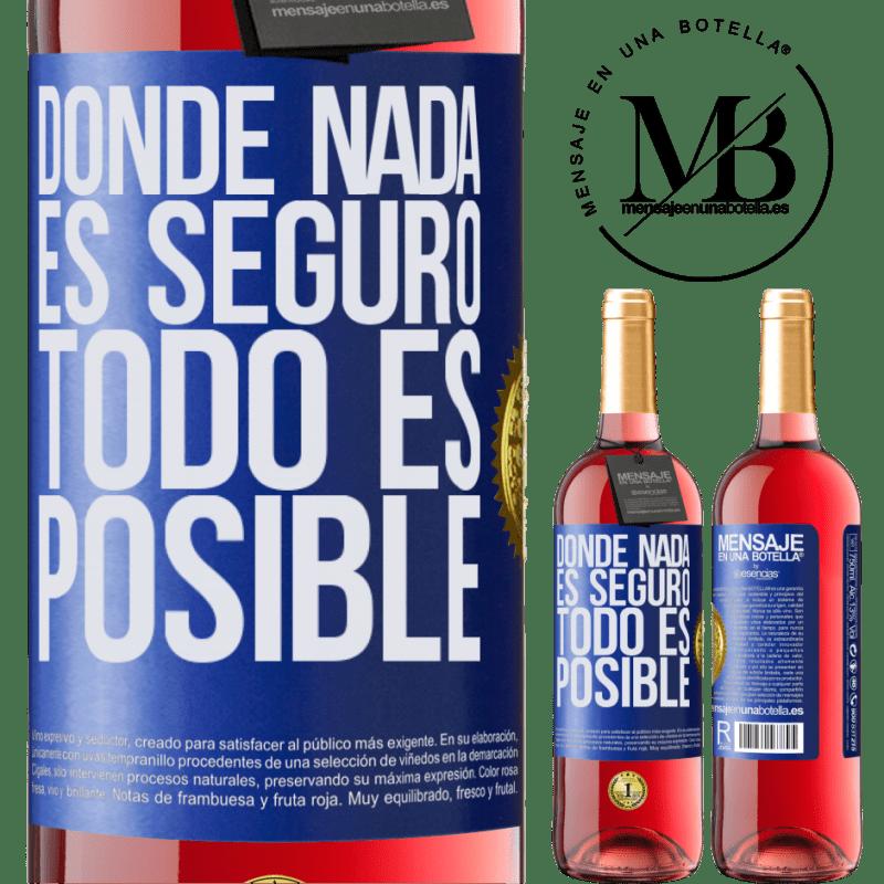 24,95 € Envoi gratuit | Vin rosé Édition ROSÉ Là où rien n'est sûr, tout est possible Étiquette Bleue. Étiquette personnalisable Vin jeune Récolte 2020 Tempranillo
