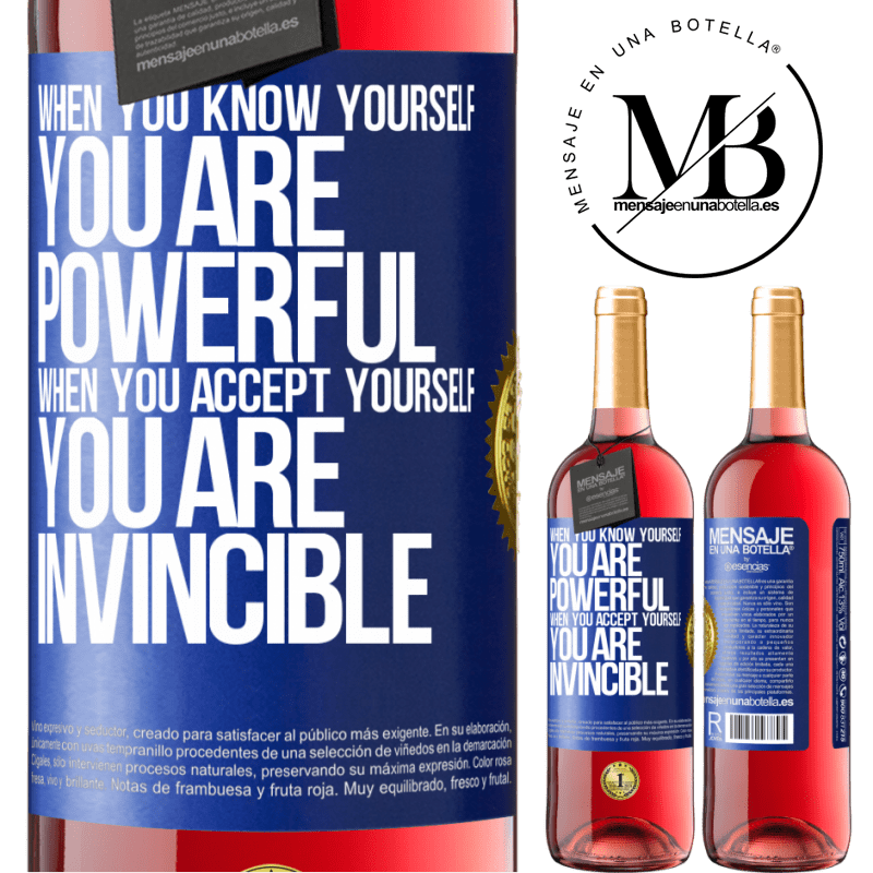 24,95 € Free Shipping   Rosé Wine ROSÉ Edition When you know yourself, you are powerful. When you accept yourself, you are invincible Blue Label. Customizable label Young wine Harvest 2020 Tempranillo
