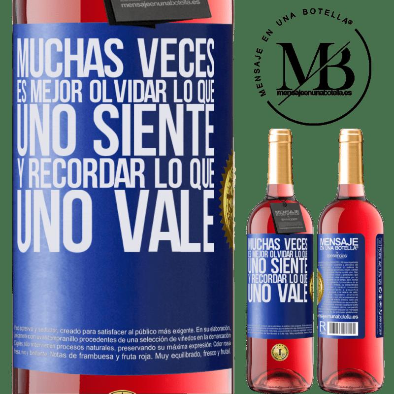 24,95 € Envoi gratuit | Vin rosé Édition ROSÉ Souvent, il vaut mieux oublier ce que l'on ressent et se souvenir de ce que l'on vaut Étiquette Bleue. Étiquette personnalisable Vin jeune Récolte 2020 Tempranillo