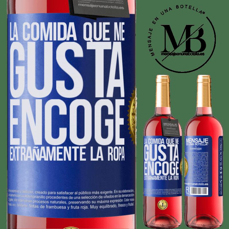 24,95 € Envoi gratuit   Vin rosé Édition ROSÉ La nourriture que j'aime rétrécit étrangement Étiquette Bleue. Étiquette personnalisable Vin jeune Récolte 2020 Tempranillo