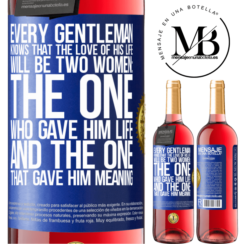 24,95 € Free Shipping | Rosé Wine ROSÉ Edition Every gentleman knows that the love of his life will be two women: the one who gave him life and the one that gave him Blue Label. Customizable label Young wine Harvest 2020 Tempranillo