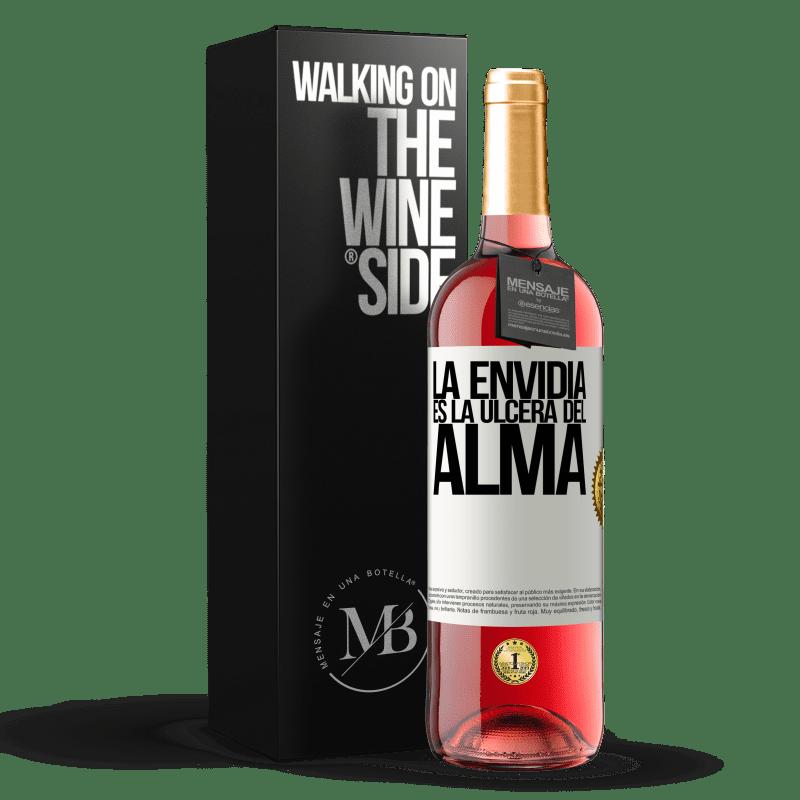24,95 € Envío gratis | Vino Rosado Edición ROSÉ La envidia es la úlcera del alma Etiqueta Blanca. Etiqueta personalizable Vino joven Cosecha 2020 Tempranillo