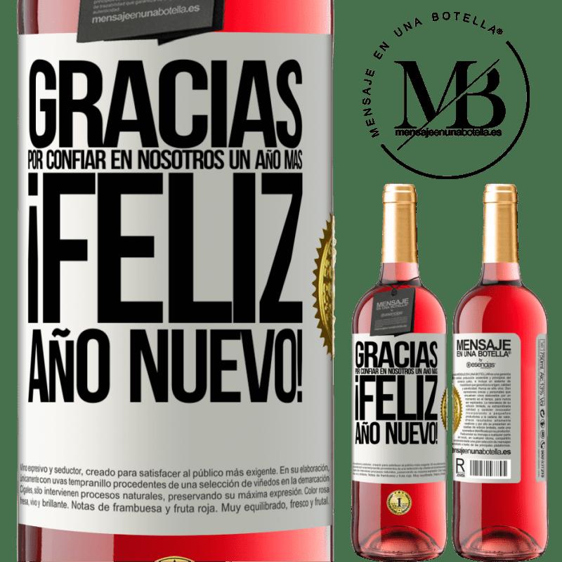 24,95 € Envoi gratuit | Vin rosé Édition ROSÉ Merci de nous faire confiance pour une autre année. Bonne année Étiquette Blanche. Étiquette personnalisable Vin jeune Récolte 2020 Tempranillo