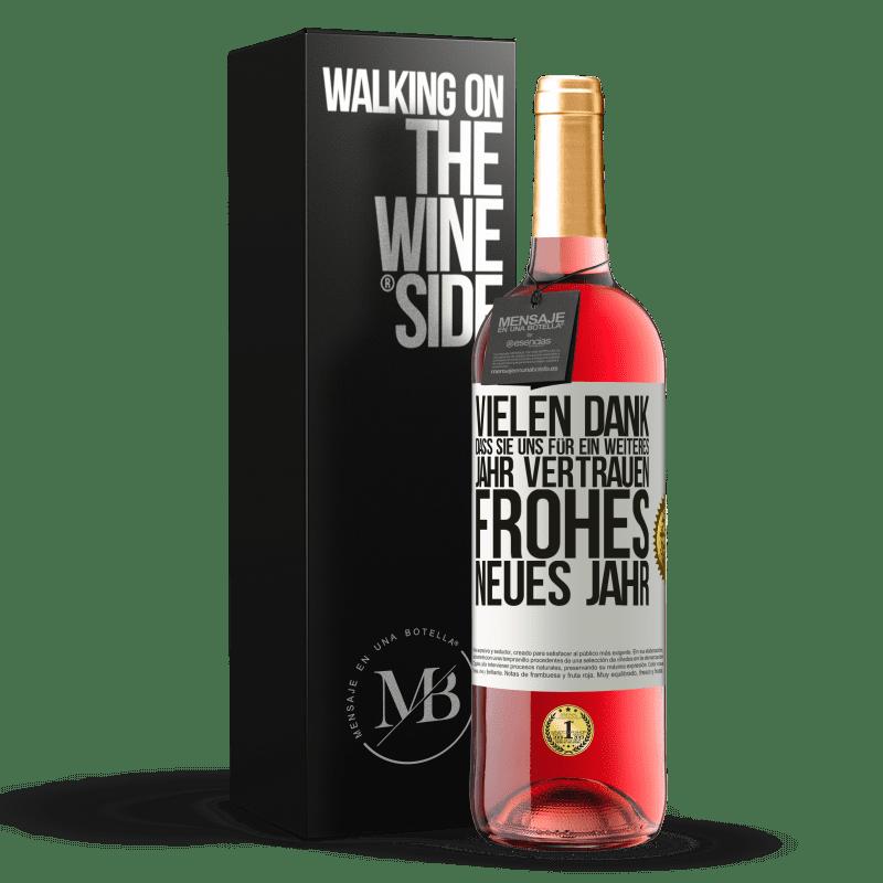 24,95 € Kostenloser Versand | Roséwein ROSÉ Ausgabe Vielen Dank, dass Sie uns für ein weiteres Jahr vertrauen. Frohes neues Jahr Weißes Etikett. Anpassbares Etikett Junger Wein Ernte 2020 Tempranillo