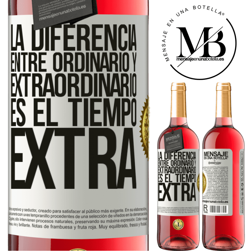 24,95 € Envoi gratuit   Vin rosé Édition ROSÉ La différence entre l'ordinaire et l'extraordinaire est le temps EXTRA Étiquette Blanche. Étiquette personnalisable Vin jeune Récolte 2020 Tempranillo