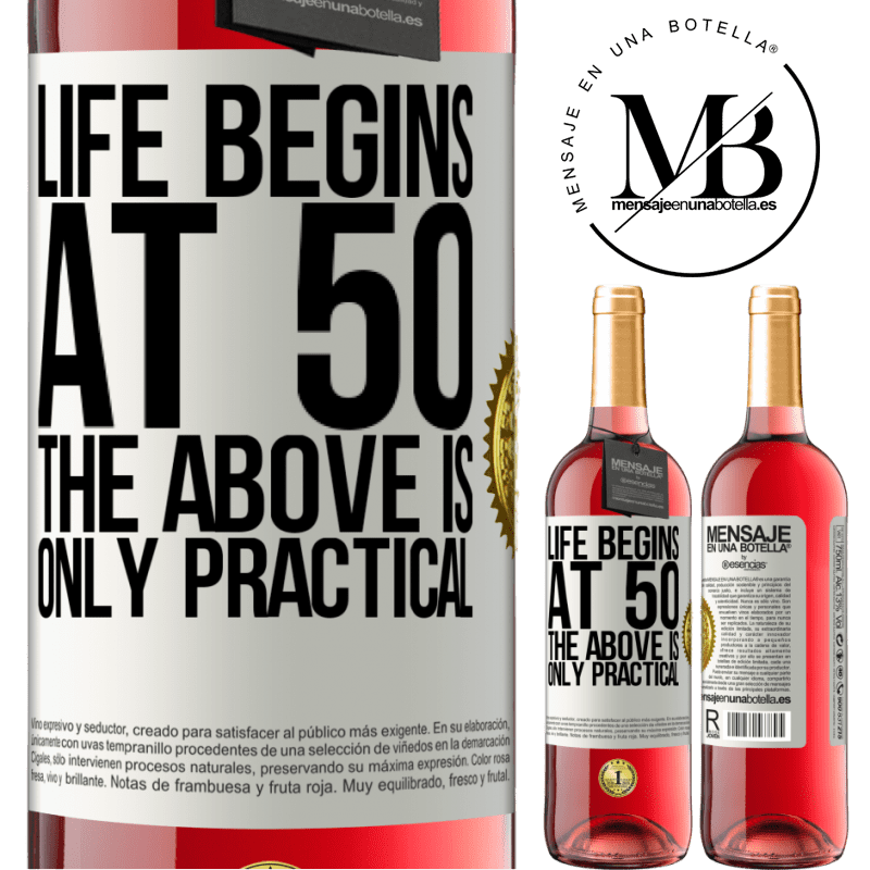 24,95 € Free Shipping   Rosé Wine ROSÉ Edition Life begins at 50, the above is only practical White Label. Customizable label Young wine Harvest 2020 Tempranillo