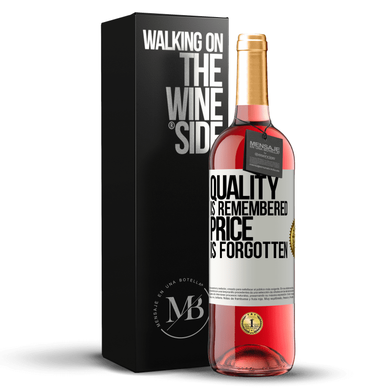 24,95 € Free Shipping | Rosé Wine ROSÉ Edition Quality is remembered, price is forgotten White Label. Customizable label Young wine Harvest 2020 Tempranillo