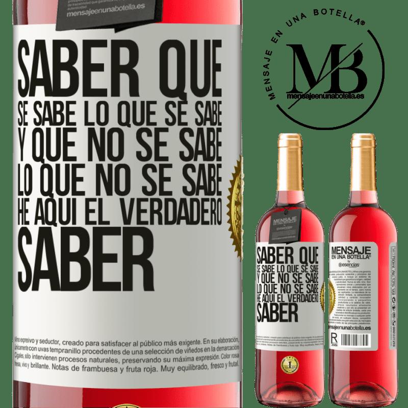 24,95 € Envoi gratuit | Vin rosé Édition ROSÉ Sachez que ce qui est connu est connu et ce qui n'est pas connu voici le vrai savoir Étiquette Blanche. Étiquette personnalisable Vin jeune Récolte 2020 Tempranillo