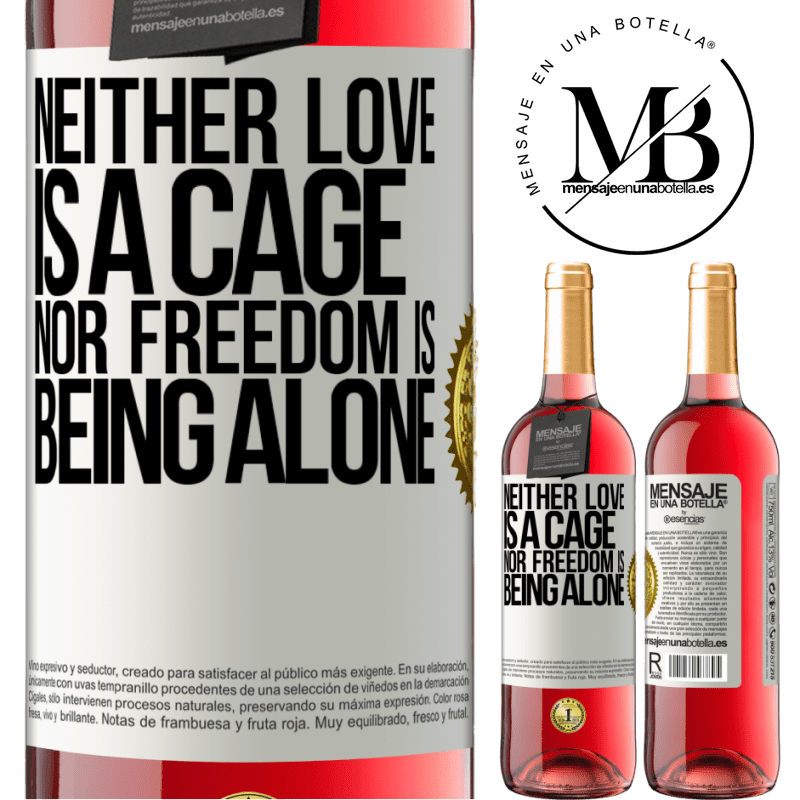 24,95 € Free Shipping   Rosé Wine ROSÉ Edition Neither love is a cage, nor freedom is being alone White Label. Customizable label Young wine Harvest 2020 Tempranillo