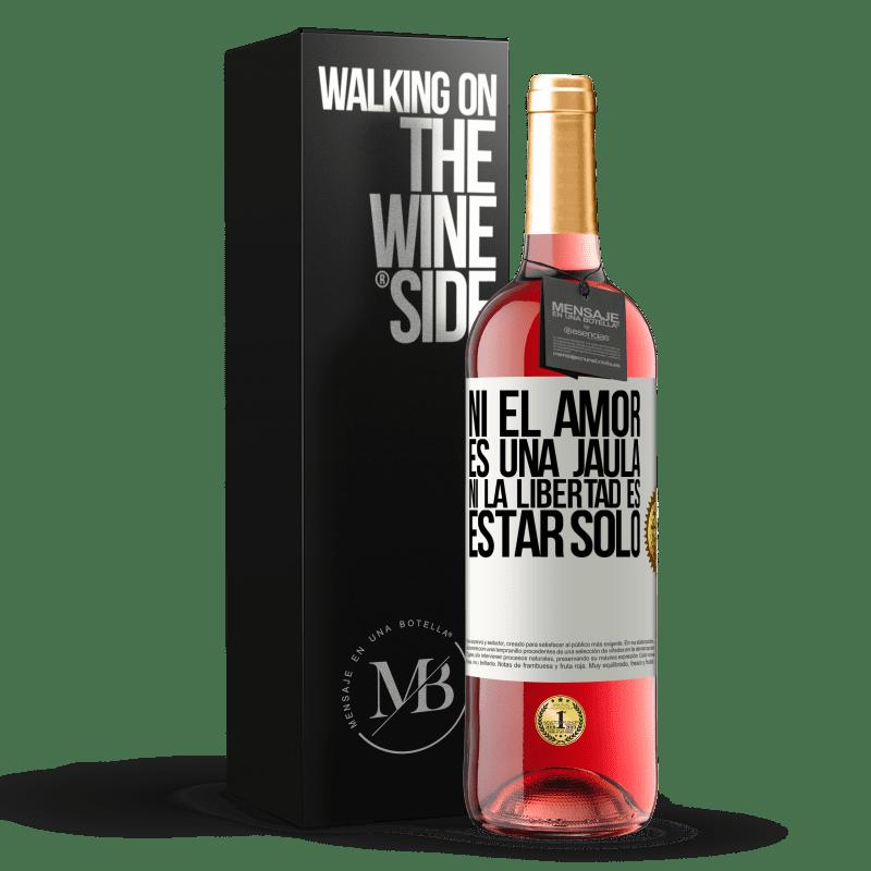 24,95 € Envoi gratuit | Vin rosé Édition ROSÉ Ni l'amour n'est une cage, ni la liberté n'est pas seul Étiquette Blanche. Étiquette personnalisable Vin jeune Récolte 2020 Tempranillo
