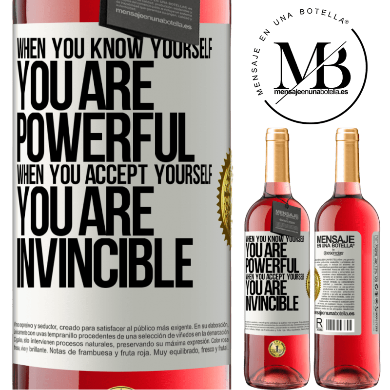 24,95 € Free Shipping   Rosé Wine ROSÉ Edition When you know yourself, you are powerful. When you accept yourself, you are invincible White Label. Customizable label Young wine Harvest 2020 Tempranillo