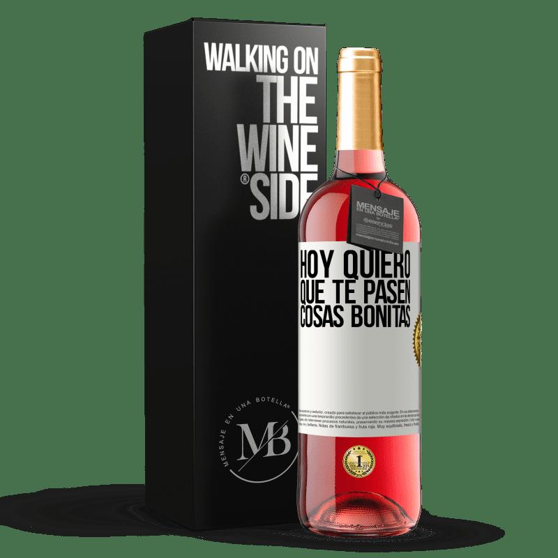 24,95 € Envoi gratuit | Vin rosé Édition ROSÉ Aujourd'hui, je veux que de belles choses vous arrivent Étiquette Blanche. Étiquette personnalisable Vin jeune Récolte 2020 Tempranillo