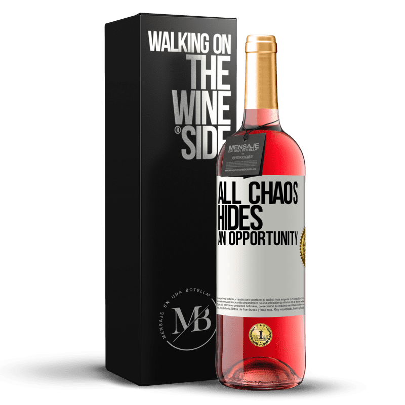 24,95 € Free Shipping   Rosé Wine ROSÉ Edition All chaos hides an opportunity White Label. Customizable label Young wine Harvest 2020 Tempranillo