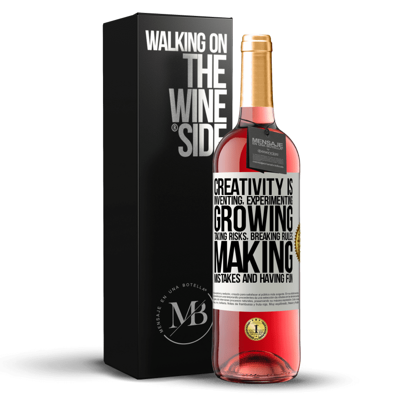 24,95 € Free Shipping | Rosé Wine ROSÉ Edition Creativity is inventing, experimenting, growing, taking risks, breaking rules, making mistakes, and having fun White Label. Customizable label Young wine Harvest 2020 Tempranillo