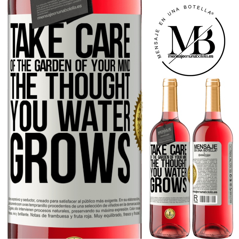 24,95 € Free Shipping | Rosé Wine ROSÉ Edition Take care of the garden of your mind. The thought you water grows White Label. Customizable label Young wine Harvest 2020 Tempranillo