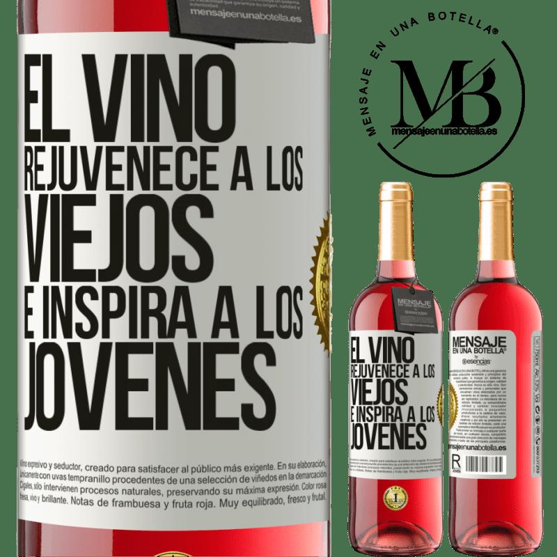 24,95 € Envoi gratuit   Vin rosé Édition ROSÉ Le vin rajeunit les vieux et inspire les jeunes Étiquette Blanche. Étiquette personnalisable Vin jeune Récolte 2020 Tempranillo