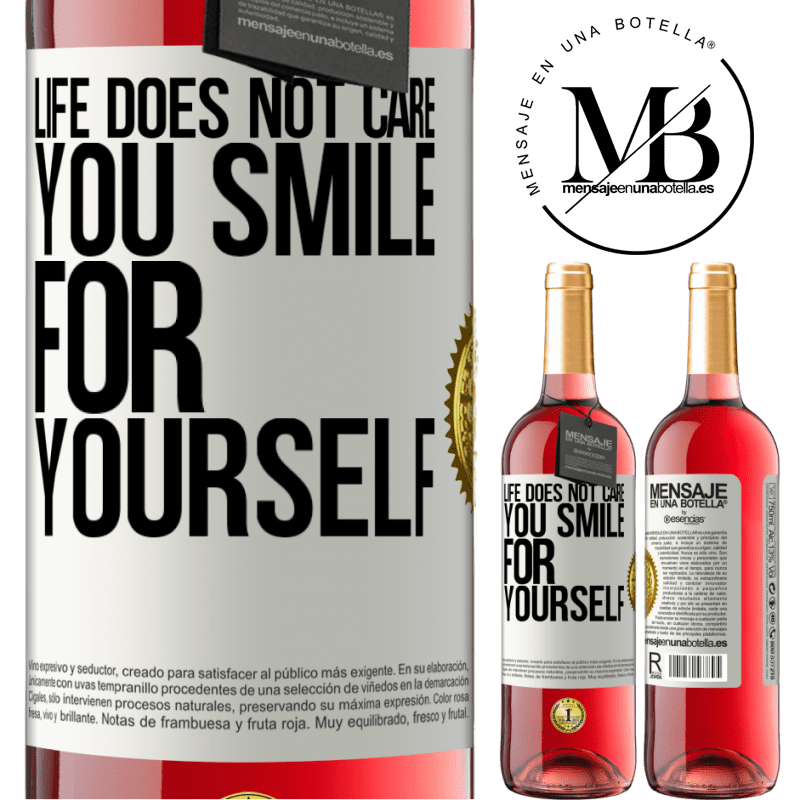 24,95 € Free Shipping   Rosé Wine ROSÉ Edition Life does not care, you smile for yourself White Label. Customizable label Young wine Harvest 2020 Tempranillo