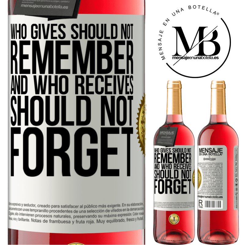 24,95 € Free Shipping | Rosé Wine ROSÉ Edition Who gives should not remember, and who receives, should not forget White Label. Customizable label Young wine Harvest 2020 Tempranillo