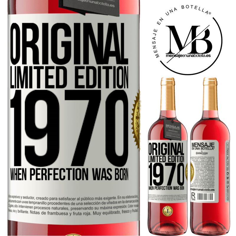 24,95 € Free Shipping   Rosé Wine ROSÉ Edition Original. Limited edition. 1970. When perfection was born White Label. Customizable label Young wine Harvest 2020 Tempranillo