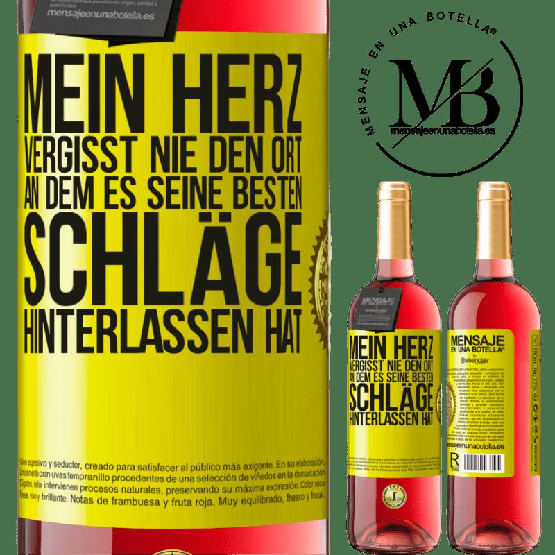 24,95 € Kostenloser Versand | Roséwein ROSÉ Ausgabe Mein Herz vergisst nie den Ort, an dem es seine besten Schläge hinterlassen hat Gelbes Etikett. Anpassbares Etikett Junger Wein Ernte 2020 Tempranillo