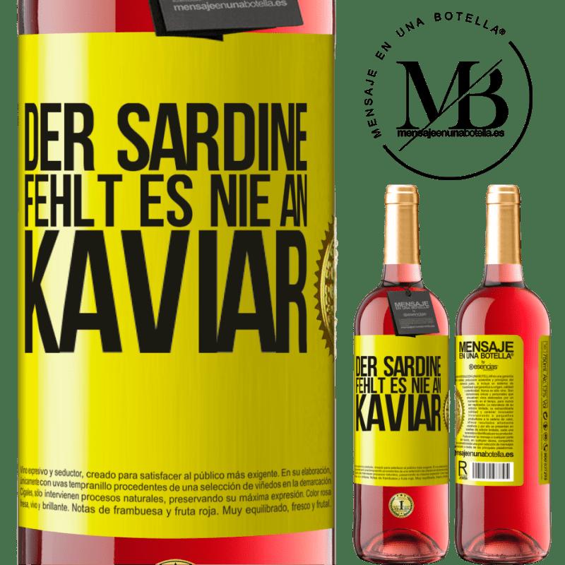 24,95 € Kostenloser Versand | Roséwein ROSÉ Ausgabe Der Sardine fehlt es nie an Kaviar Gelbes Etikett. Anpassbares Etikett Junger Wein Ernte 2020 Tempranillo