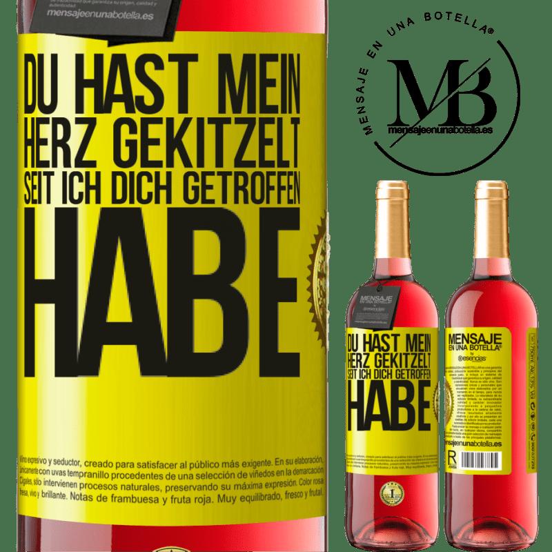 24,95 € Kostenloser Versand   Roséwein ROSÉ Ausgabe Du hast mein Herz gekitzelt, seit ich dich getroffen habe Gelbes Etikett. Anpassbares Etikett Junger Wein Ernte 2020 Tempranillo