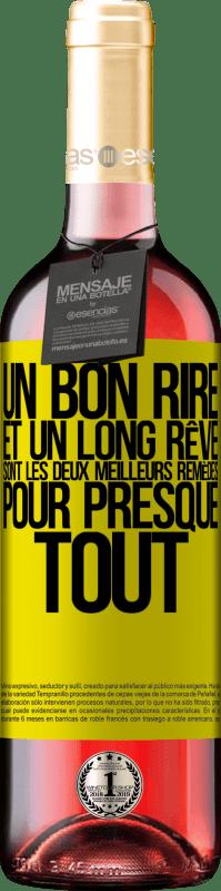 24,95 € Envoi gratuit | Vin rosé Édition ROSÉ Un bon rire et un long rêve sont les deux meilleurs remèdes pour presque tout Étiquette Jaune. Étiquette personnalisable Vin jeune Récolte 2020 Tempranillo
