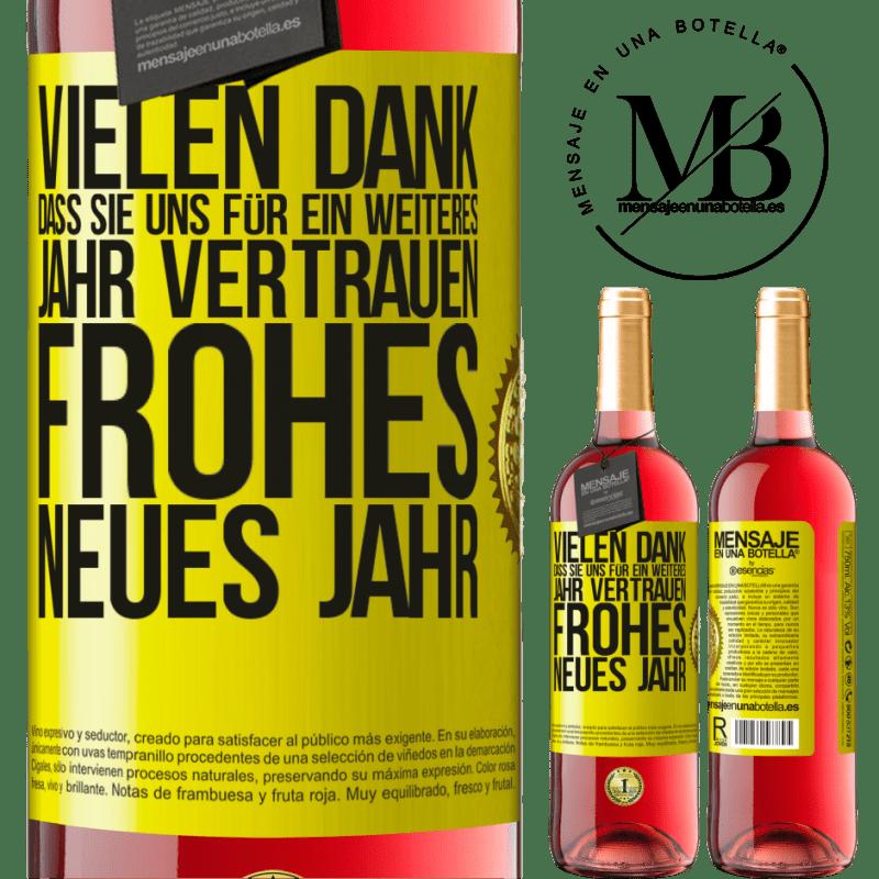 24,95 € Kostenloser Versand | Roséwein ROSÉ Ausgabe Vielen Dank, dass Sie uns für ein weiteres Jahr vertrauen. Frohes neues Jahr Gelbes Etikett. Anpassbares Etikett Junger Wein Ernte 2020 Tempranillo