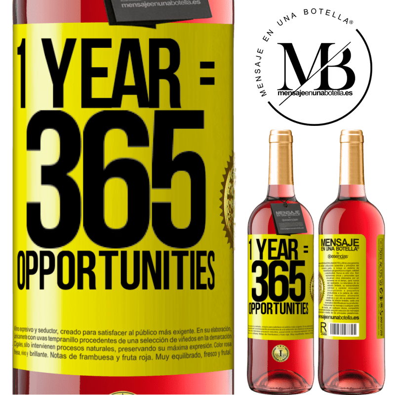 24,95 € Free Shipping | Rosé Wine ROSÉ Edition 1 year 365 opportunities Yellow Label. Customizable label Young wine Harvest 2020 Tempranillo
