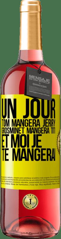 24,95 € Envoi gratuit   Vin rosé Édition ROSÉ Tom mangera Jerry, Silvestre a Piolin, et je te mangerai un jour Étiquette Jaune. Étiquette personnalisable Vin jeune Récolte 2020 Tempranillo