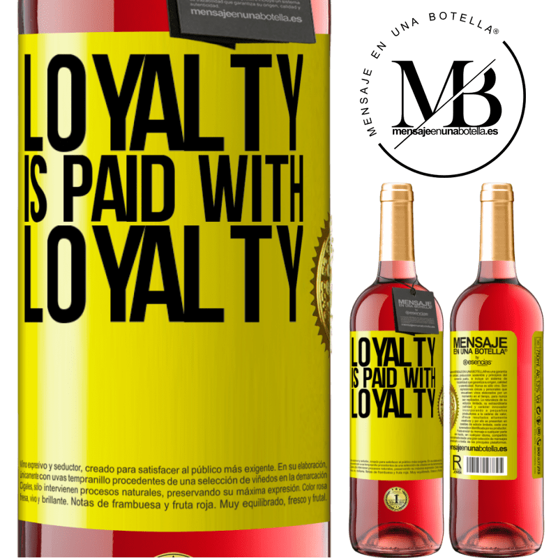 24,95 € Free Shipping   Rosé Wine ROSÉ Edition Loyalty is paid with loyalty Yellow Label. Customizable label Young wine Harvest 2020 Tempranillo