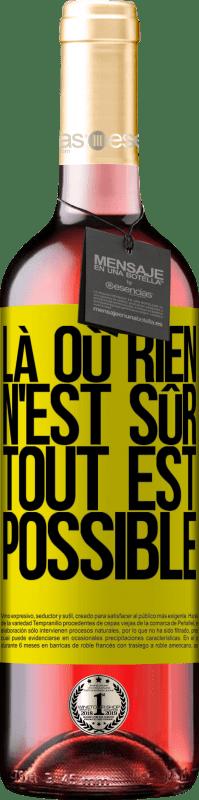 24,95 € Envoi gratuit | Vin rosé Édition ROSÉ Là où rien n'est sûr, tout est possible Étiquette Jaune. Étiquette personnalisable Vin jeune Récolte 2020 Tempranillo
