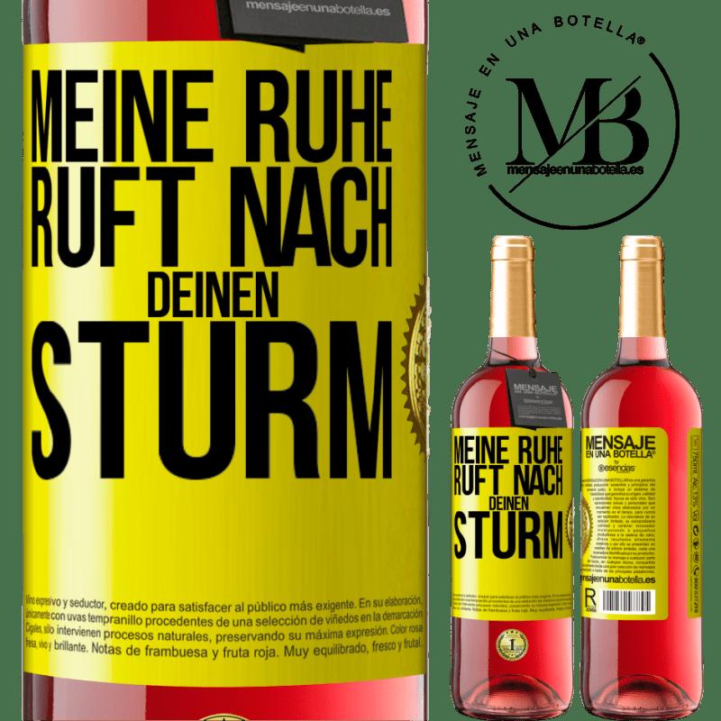 24,95 € Kostenloser Versand | Roséwein ROSÉ Ausgabe Meine Ruhe ruft deinen Sturm Gelbes Etikett. Anpassbares Etikett Junger Wein Ernte 2020 Tempranillo