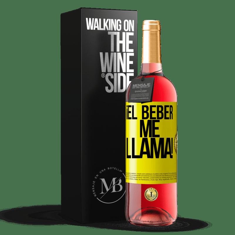 24,95 € Envoi gratuit | Vin rosé Édition ROSÉ boire m'appelle! Étiquette Jaune. Étiquette personnalisable Vin jeune Récolte 2020 Tempranillo