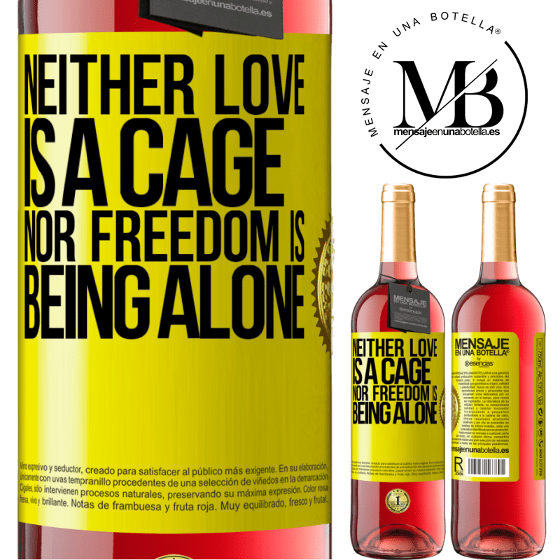 24,95 € Free Shipping   Rosé Wine ROSÉ Edition Neither love is a cage, nor freedom is being alone Yellow Label. Customizable label Young wine Harvest 2020 Tempranillo