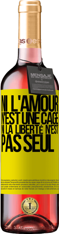 24,95 € Envoi gratuit | Vin rosé Édition ROSÉ Ni l'amour n'est une cage, ni la liberté n'est pas seul Étiquette Jaune. Étiquette personnalisable Vin jeune Récolte 2020 Tempranillo