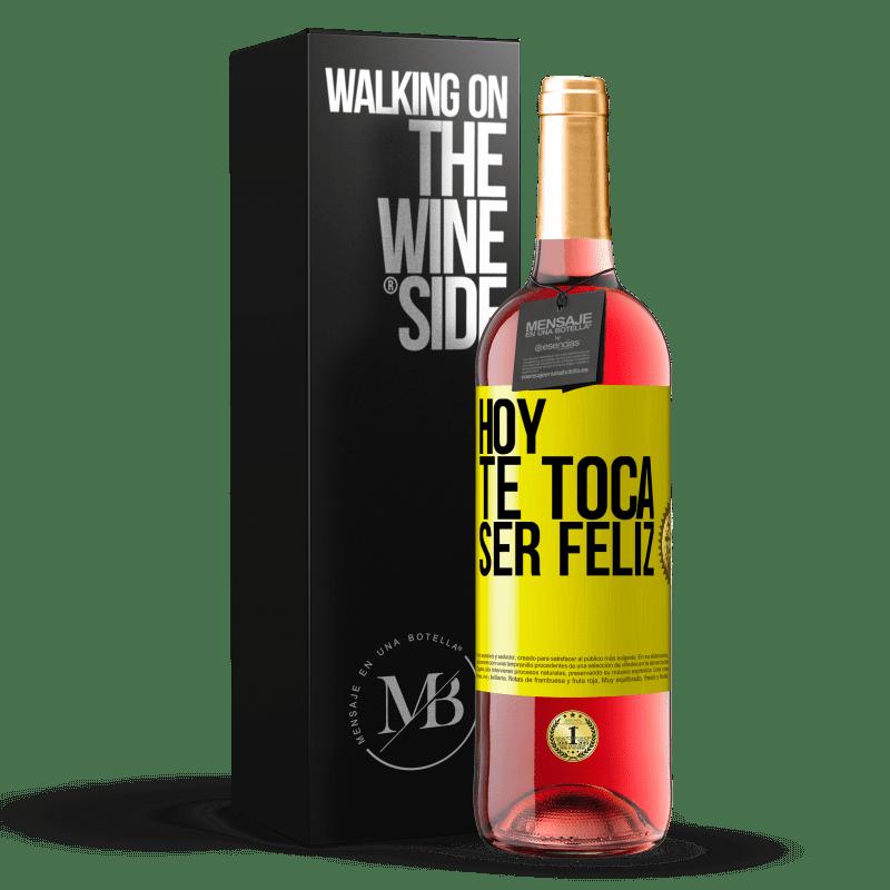 24,95 € Envoi gratuit   Vin rosé Édition ROSÉ Aujourd'hui, il faut être heureux Étiquette Jaune. Étiquette personnalisable Vin jeune Récolte 2020 Tempranillo