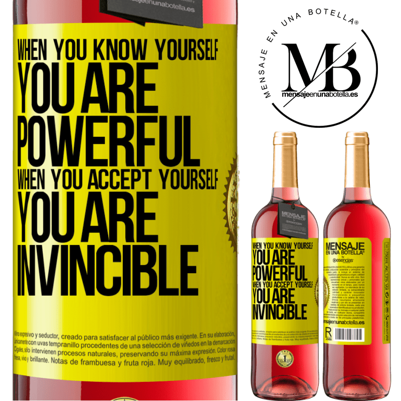 24,95 € Free Shipping   Rosé Wine ROSÉ Edition When you know yourself, you are powerful. When you accept yourself, you are invincible Yellow Label. Customizable label Young wine Harvest 2020 Tempranillo
