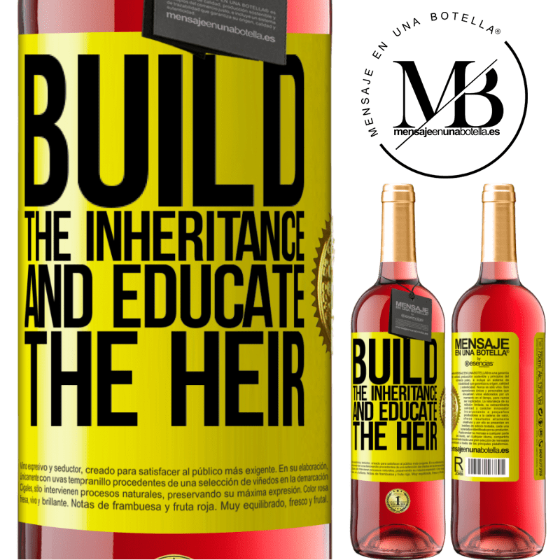 24,95 € Free Shipping   Rosé Wine ROSÉ Edition Build the inheritance and educate the heir Yellow Label. Customizable label Young wine Harvest 2020 Tempranillo