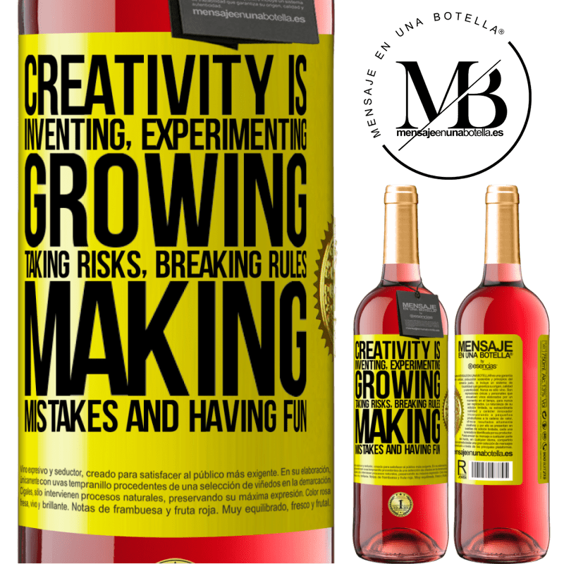 24,95 € Free Shipping | Rosé Wine ROSÉ Edition Creativity is inventing, experimenting, growing, taking risks, breaking rules, making mistakes, and having fun Yellow Label. Customizable label Young wine Harvest 2020 Tempranillo