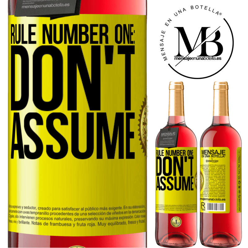 24,95 € Free Shipping | Rosé Wine ROSÉ Edition Rule number one: don't assume Yellow Label. Customizable label Young wine Harvest 2020 Tempranillo