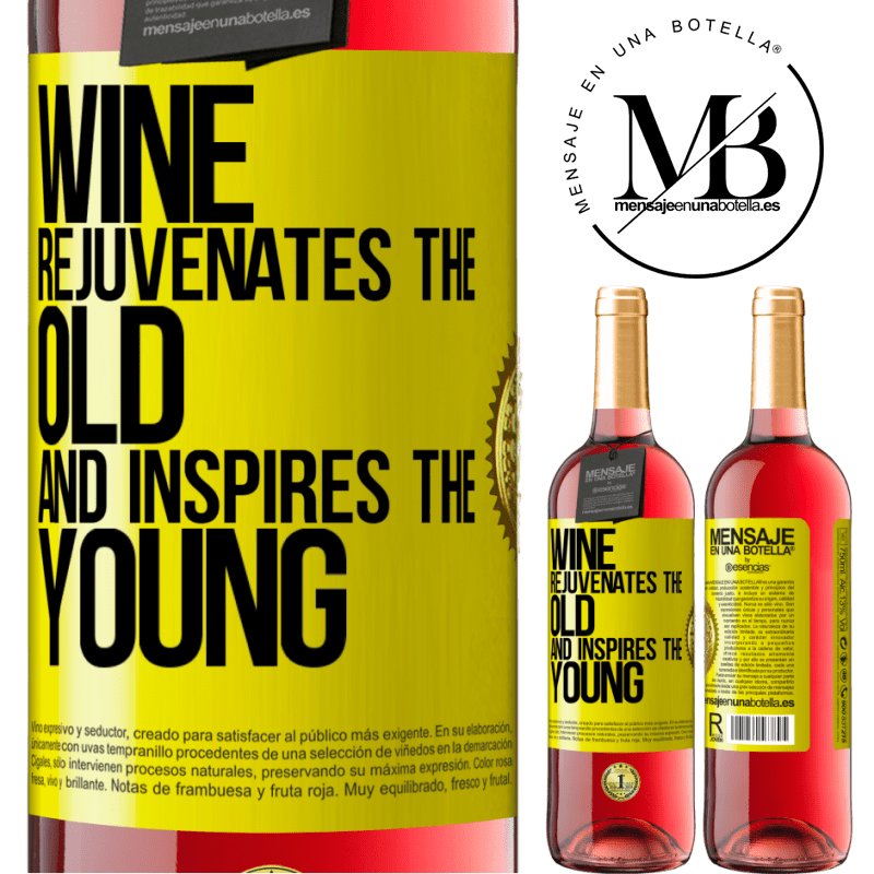 24,95 € Free Shipping | Rosé Wine ROSÉ Edition Wine rejuvenates the old and inspires the young Yellow Label. Customizable label Young wine Harvest 2020 Tempranillo