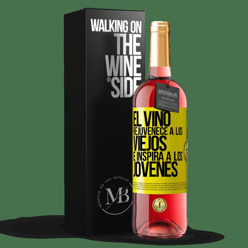 24,95 € Envoi gratuit   Vin rosé Édition ROSÉ Le vin rajeunit les vieux et inspire les jeunes Étiquette Jaune. Étiquette personnalisable Vin jeune Récolte 2020 Tempranillo