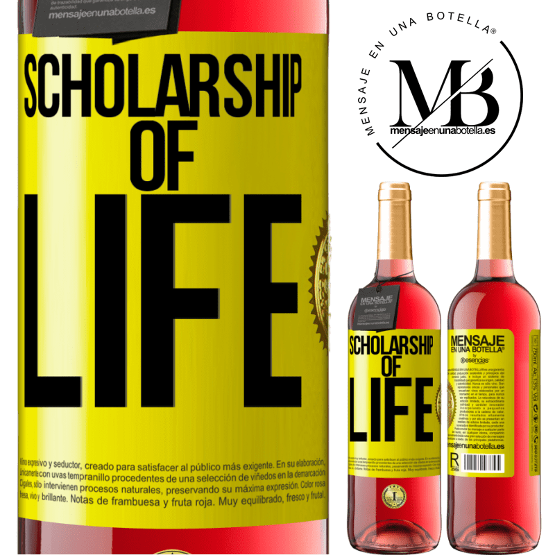24,95 € Free Shipping | Rosé Wine ROSÉ Edition Scholarship of life Yellow Label. Customizable label Young wine Harvest 2020 Tempranillo
