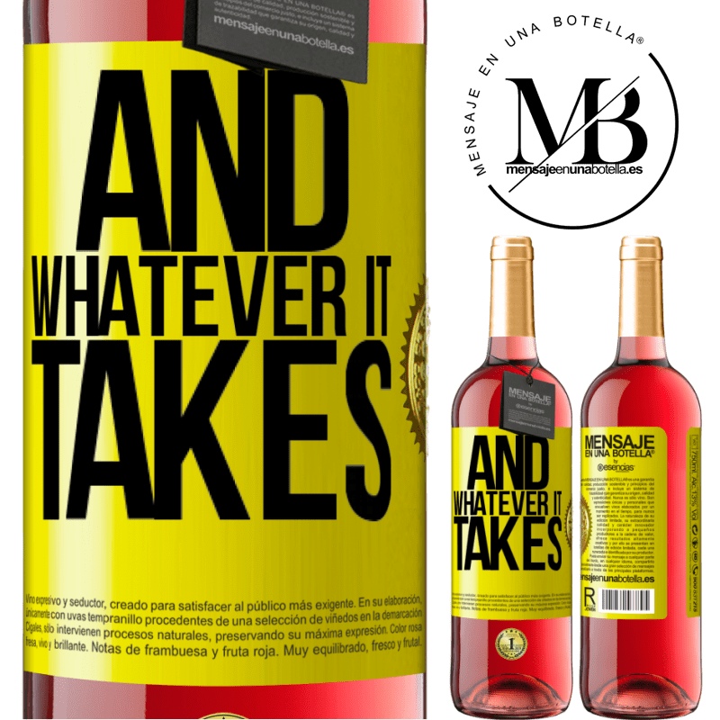 24,95 € Free Shipping | Rosé Wine ROSÉ Edition And whatever it takes Yellow Label. Customizable label Young wine Harvest 2020 Tempranillo
