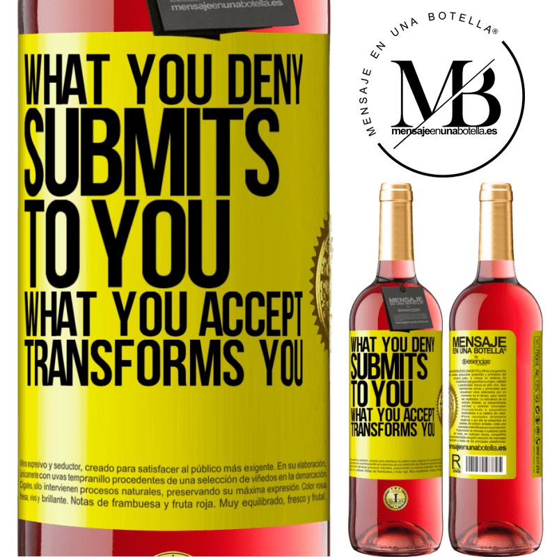 24,95 € Free Shipping | Rosé Wine ROSÉ Edition What you deny submits to you. What you accept transforms you Yellow Label. Customizable label Young wine Harvest 2020 Tempranillo