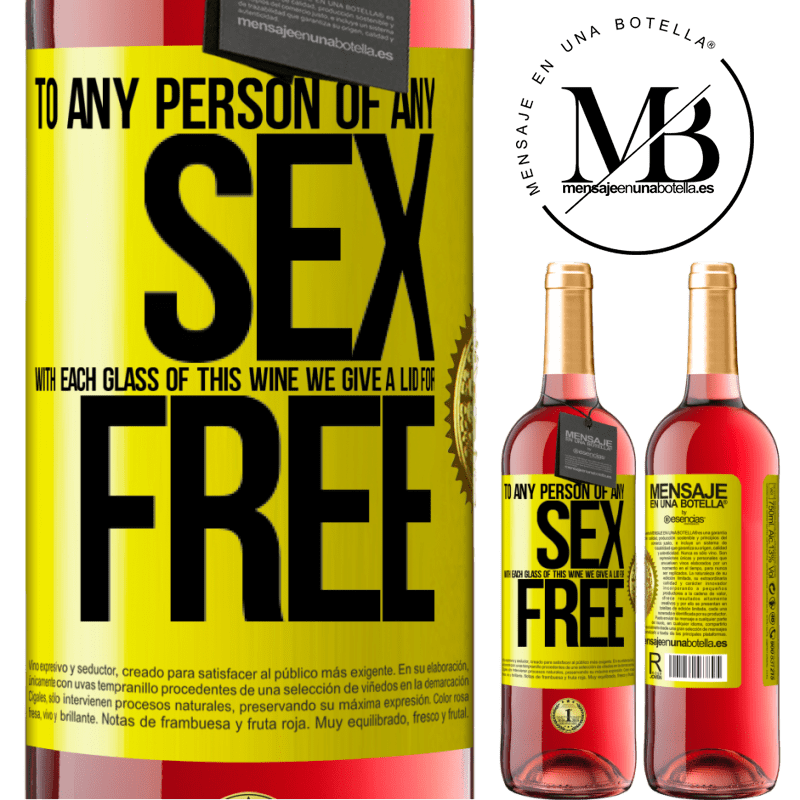 24,95 € Free Shipping | Rosé Wine ROSÉ Edition To any person of any SEX with each glass of this wine we give a lid for FREE Yellow Label. Customizable label Young wine Harvest 2020 Tempranillo