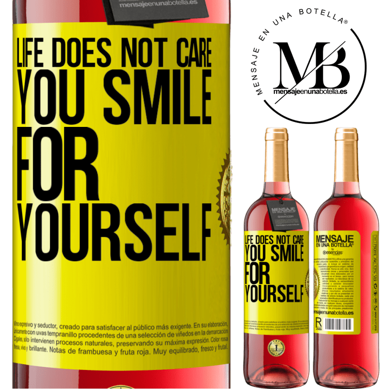 24,95 € Free Shipping   Rosé Wine ROSÉ Edition Life does not care, you smile for yourself Yellow Label. Customizable label Young wine Harvest 2020 Tempranillo