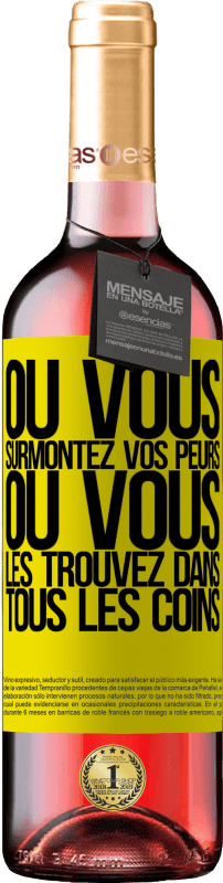 24,95 € Envoi gratuit   Vin rosé Édition ROSÉ Ou vous surmontez vos peurs, ou vous les trouvez dans tous les coins Étiquette Jaune. Étiquette personnalisable Vin jeune Récolte 2020 Tempranillo
